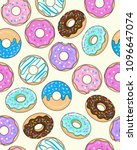 seamless frosted donut pattern... | Shutterstock .eps vector #1096647074