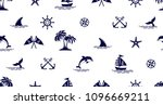 seamless pattern with dolphin... | Shutterstock .eps vector #1096669211
