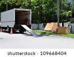 a moving van on street with... | Shutterstock . vector #109668404