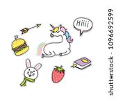 set of cute fashion patches | Shutterstock .eps vector #1096692599
