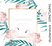 card template with exotic pink... | Shutterstock .eps vector #1096716941