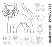 toy animals outline icons in... | Shutterstock .eps vector #1096717865