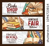 bookshop or vintage rare books... | Shutterstock .eps vector #1096723814