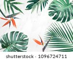 group of tropical leaves on... | Shutterstock . vector #1096724711