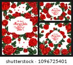 Stock vector save the date wedding invitation cards of roses flowers and floral frames with bride and bridegroom 1096725401