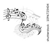 musical staff or music stave... | Shutterstock .eps vector #1096725404