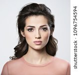 portrait of brunette woman with ... | Shutterstock . vector #1096754594