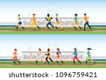 handicapped sprinter with... | Shutterstock .eps vector #1096759421