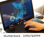 engineer working at computer at ... | Shutterstock . vector #1096760999