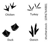 various traces of poultry. duck ... | Shutterstock .eps vector #1096764881