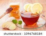 honey  ginger  hot tea and... | Shutterstock . vector #1096768184