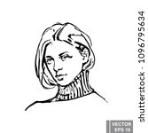 fashionable young girl. sketch. ... | Shutterstock .eps vector #1096795634