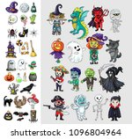 halloween characters and icons... | Shutterstock .eps vector #1096804964