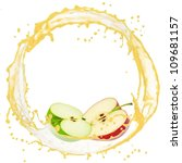 splash with apple slices... | Shutterstock . vector #109681157