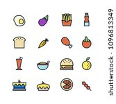 various food icons on white... | Shutterstock .eps vector #1096813349