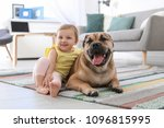 cute little child with dog at... | Shutterstock . vector #1096815995