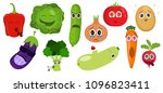 funny cartoon vegetable... | Shutterstock .eps vector #1096823411