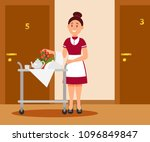 smiling waitress with food... | Shutterstock .eps vector #1096849847