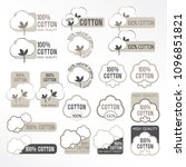cotton vector icons set  labels ... | Shutterstock .eps vector #1096851821
