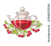 cherry tea in teapot | Shutterstock .eps vector #1096855034