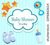 baby shower  it's a boy | Shutterstock .eps vector #1096863614