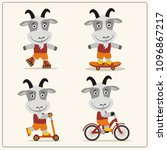 set of isolated funny goat on... | Shutterstock .eps vector #1096867217