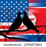 usa north korea peace doves 3d... | Shutterstock . vector #1096873841
