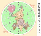 cute baby squirrel on clock... | Shutterstock .eps vector #1096873859