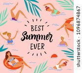 summer beach travel poster with ... | Shutterstock .eps vector #1096874867