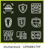 set of 9 security outline icons ... | Shutterstock .eps vector #1096881749