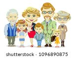 big and happy family portrait... | Shutterstock .eps vector #1096890875