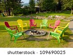 outdoor fireplace with three... | Shutterstock . vector #109690025