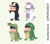 set of cartoon little kid... | Shutterstock .eps vector #1096902824