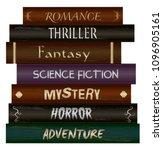 stack of books  fiction genre ...   Shutterstock .eps vector #1096905161