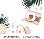flat lay blogger workspace... | Shutterstock . vector #1096909487