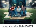 soccer football fans sitting on ... | Shutterstock . vector #1096950179