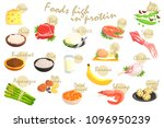 food rich in proteins poster | Shutterstock .eps vector #1096950239