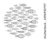school of fish. a group of... | Shutterstock .eps vector #1096950797