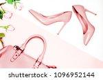 pair of beige nude women's high ...   Shutterstock . vector #1096952144