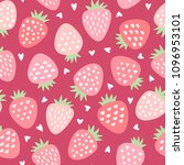 cute strawberry vector pattern... | Shutterstock .eps vector #1096953101