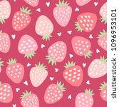 cute strawberry vector pattern...   Shutterstock .eps vector #1096953101