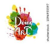 doing art. hand drawn... | Shutterstock . vector #1096955597