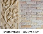 Brick Wall Texture With Flower...