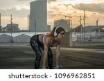 fitness woman training outdoors ... | Shutterstock . vector #1096962851