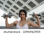 fitness woman training outdoors ... | Shutterstock . vector #1096962905
