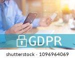 gdpr concept businessman hand... | Shutterstock . vector #1096964069