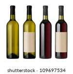 Two  Red And White Wine Bottle...