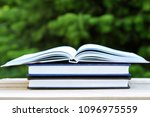 book with open empty white... | Shutterstock . vector #1096975559