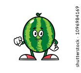 cartoon pointing watermelon... | Shutterstock .eps vector #1096984169