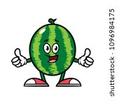 cartoon watermelon character... | Shutterstock .eps vector #1096984175